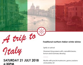 A trip to Italy 21 July - Italian dinner event